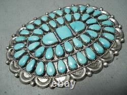 Joey Wilson Vintage Navajo Turquoise Cluster Sterling Silver Pin Huge