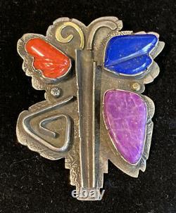 Jolene Eustace Zuni Pueblo 18k 14k & Sterling Large BUTTERFLY Pin Pendant JAE