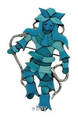 Jonathan Beyuka, Pin, Pendant, Snake Dancer, Turquoise Inlay, Zuni Handmade, 3.1