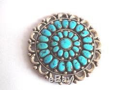 Julie O Lahi Native American Zuni Turquoise Cluster Pin Pendant Old Pawn