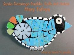 Ke-Wa Pueblo Folk Art ArtistMARY TAFOYAWhimsical Turquoise Mosaic Bird Pin