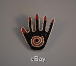 Kewa (Santo Domingo) Silver Mosaic Shell Inlay Pin / Pendant Mary Coriz Lovato