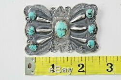Kirk Smith Sterling Silver Repoussé Turquoise Butterfly Brooch Signed Navajo