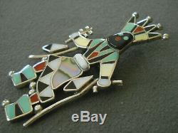 LAIWAKETE Zuni Multi-Stone Inlay Sterling Silver Apache Crown Dancer Pin Pendant
