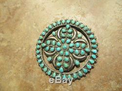LARGE 2 3/4 Vintage ZUNI Sterling Silver PETIT POINT Turquoise CLUSTER Pin