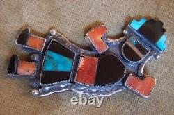 LARGE Rainbow man -ZUNI-Knifewing-mosaic pin 3-sterling silver-old