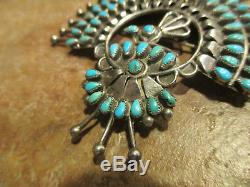 LARGE Vintage ZUNI Sterling Silver PETIT POINT Turquoise PEACOCK PIN Signed SIH