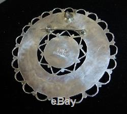 LARRYMOSES BEGAY Outstanding Cluster Sterling /Turquoise Pendant /Pin HUGE 3.25