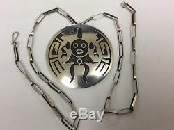 LAWRENCE SAUFKIE STERLING SILVER OVERLAY MUDHEAD Pin Pendant Necklace HOPI NICE
