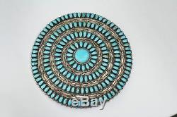 LMB Larry Moses Begay Sterling Petit Point Turquoise Pin Pendant HUGE 3-7/8