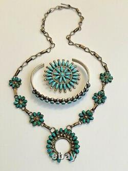 LOT Sterling Silver & Turquoise Zuni Squash Blossom Necklace, Pin & Bracelet