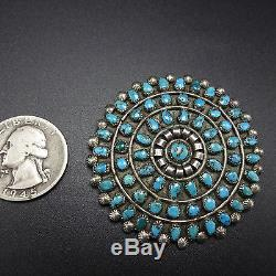 Large 1940s Vintage ZUNI Sterling Silver Turquoise ROUND Petit Point PIN/BROOCH