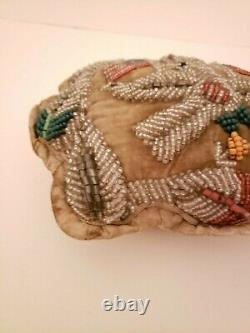 Large Antique Eastern Woodlands Native American Iroquois Beaded Pin Cushion