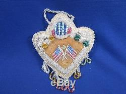 Large Antique Iroquois Beaded Pin Heart Shaped Cushion Handmade Native American