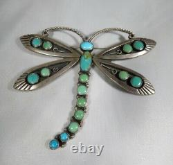 Large Federico Turquoise dragonfly pin/broach signed JF sterling