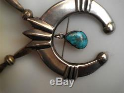 Large Naja Pendant/ Pin Cast Silver With Drop Kingman Turquoise Sterling 925