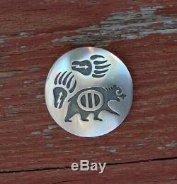 Large Native American Hopi Sterling Silver Bear Pin Pendant