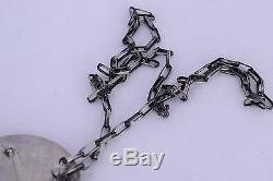 Large Native American Hopi sterling silver necklace pin Brooch Corn pendant