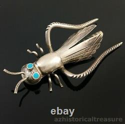 Large Native American Navajo Handmade Silver & Turquoise Grasshopper Pin Brooch