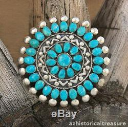 Large Native American Zuni Sterling Silver Turquoise Cluster Pendant Pin