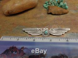 Large Navajo Sterling Thunderbird Turquoise Arrow Brooch Pin Native Old Pawn