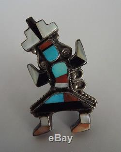 Large OLD Vintage Zuni RAINBOW MAN Multi-Color Mosaic Inlay Silver Pin / Brooch