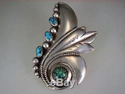 Large Old Navajo Handwrought Sterling Silver & Spiderweb Turquoise Brooch Pin