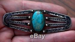 Large Very Old Pawn Navajo Handmade Sterling Silver & Turquoise Stone Brooch Pin