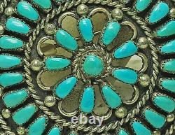 Large Vintage NAVAJO Sterling Silver & PETIT POINT Turquoise Pin Pendant