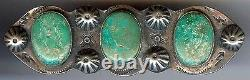 Large Vintage Navajo Indian Silver & Turquoise Pin Brooch