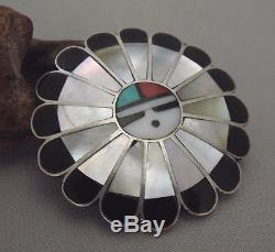 Large Vintage ZUNI Sterling Silver Multi-Stone SUNFACE with GOD'S EYE Pin / Brooch