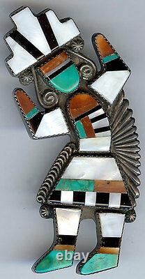 Large Vintage Zuni Indian Inlaid Coral Turquoise Rainbow Man Pin Brooch