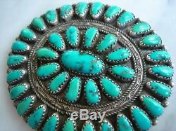Large Vintage Zuni Turquoise Cluster Petit Point Sterling Pendant Pin Joe Wilson