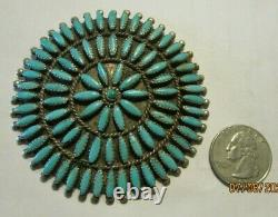 Large Vtg Zuni Signed Sterling Silver Petit Point Turquoise Pendant Pin/brooch