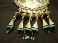 Large ZUNI STERLING SILVER Native American Kachina Dancer PENDANT PIN Signed RLK