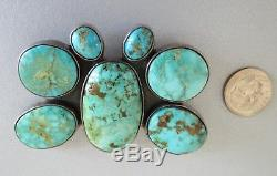 Large bold and heavy 44 gram sterling silver and turquoise Navajo butterly pin