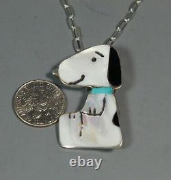 Larger Snoopy Pin Pendant inlay Turquoise Zuni Shenel Comosona Peanuts zunitoon