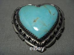 Larger Vintage Joseph And Matilda Heart Of Turquoise Silver Pin