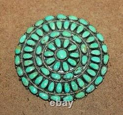 Larry Moses Begay Navajo Sterling Silver Large Turquoise Pin/Pendant 081WEI