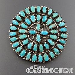 Larry (lura) Moses Begay Navajo Sterling Silver Turquoise Starburst Pin Pendant