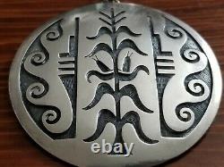 Lawrence Saufkie Hopi Cornstalk Sterling Silver Pin Brooch Necklace Pendant 63 G