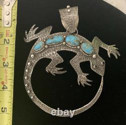 Lee Charley Navajo Hand Stamped Lizard Pin/Pendant Sterling Silver Morenci