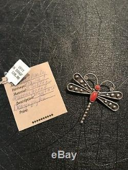 Lee Charley, Pin, Pendant, Dragonfly, Navajo Handmade Sterling Silver