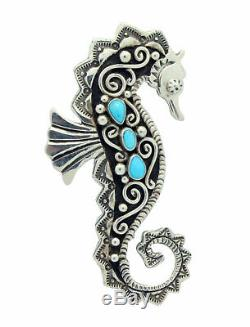 Lee Charley, Pin, Pendant, Sea Horse, Turquoise, Silver, Navajo Made, 2.75