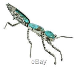 Lee Charley, Pin, Praying Mantis, Kingman Turquoise, Sterling Silver, Navajo, 3.5