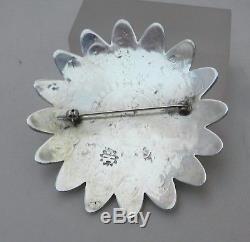 Lg Old Hopi Bernard Dawahoya Sterling Silver Overlay Sun Face Pin Brooch, Sgnd
