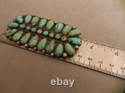 Lg Vintage Navajo Turquoise & Sterling Silver Pin Pendant, 3.5 X 1.75 Long