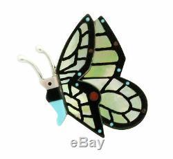 Lin Shebola, Pin, Pendant, Multi Stone, Inlay, Butterfly, Zuni handmade