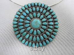 Lmb Larry Moses Begay Navajo Sterling Needlepoint Turquoise Pendant Pin Choker