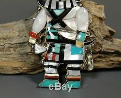 Long Horn Kachina Pendant Pin brooch Quality Inlay Eldred Martinez